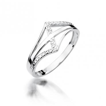 Złoty pierścionek z diamentem Białe złoto EW-114 0,03ct