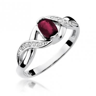 Złoty pierścionek z diamentem Białe złoto EW-28 rubin