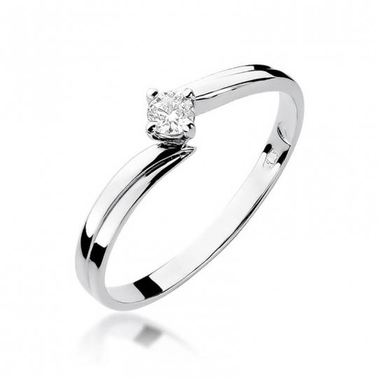 Złoty pierścionek z diamentem Białe złoto EW-231 0,08ct