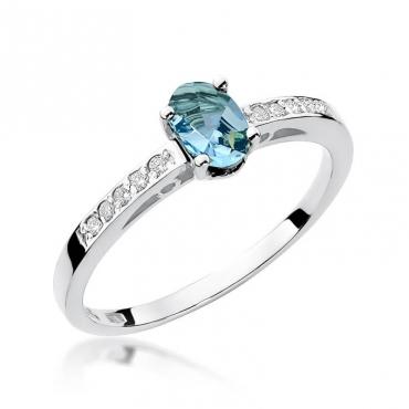 Złoty pierścionek z diamentem Białe złoto EW-67 topaz