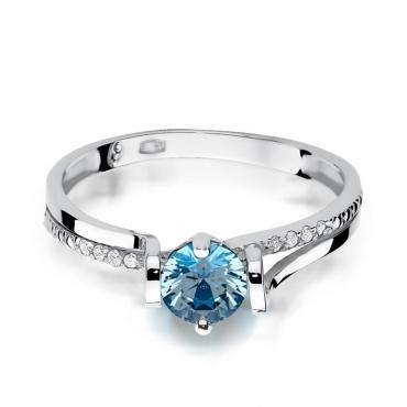 Złoty pierścionek z diamentem Białe złoto EW-102 topaz