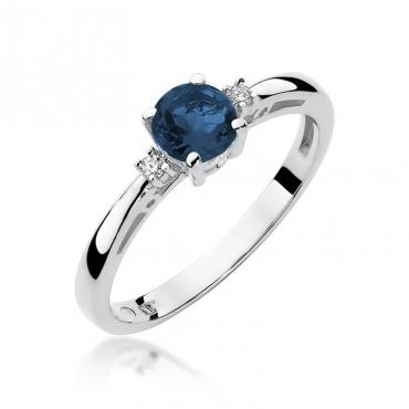 Złoty pierścionek z diamentem Białe złoto EW-10 szafir