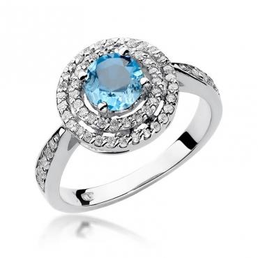 Złoty pierścionek z diamentem Białe złoto EW-274 topaz