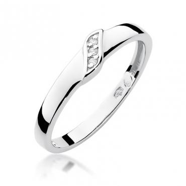 Złoty pierścionek z diamentem Białe złoto EW-176 0,02ct