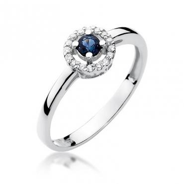 Złoty pierścionek z diamentem Białe złoto EW-238 szafir