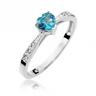 Złoty pierścionek z diamentem Białe złoto EW-65 topaz