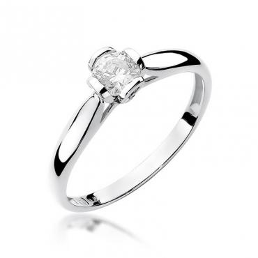 Złoty pierścionek z diamentem Białe złoto EW-86 0,30ct