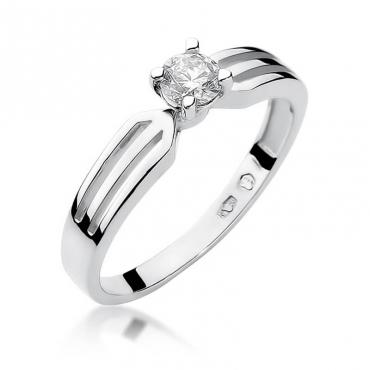 Złoty pierścionek z diamentem Białe złoto EW-226B 0,30ct