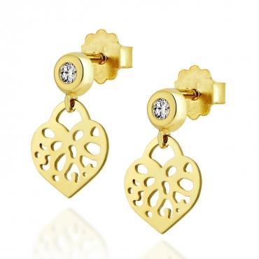 Złote kolczyki orientalne Serce z cyrkonią 2,5 mm
