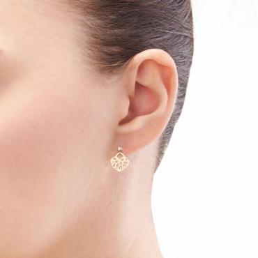 Złote kolczyki orientalne Serce z cyrkonią 1,5 mm