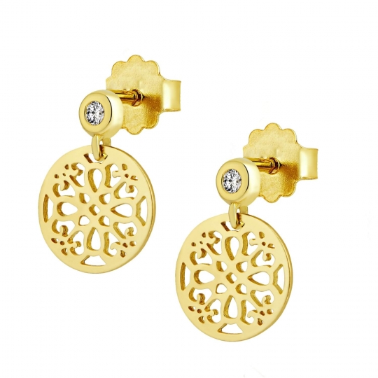 Złote kolczyki Maroko sztyft