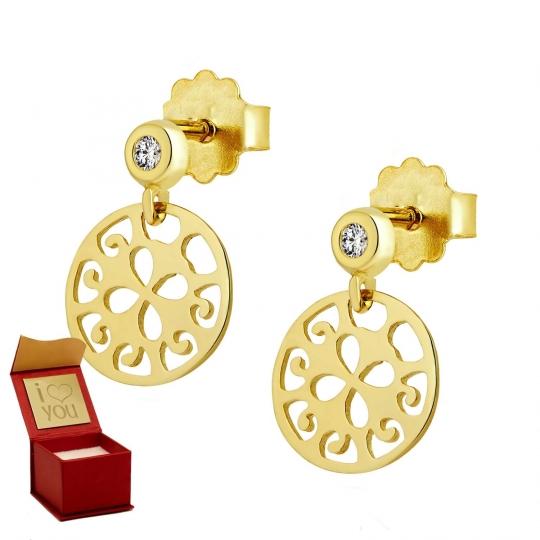 Złote kolczyki Orientalne Lato z cyrkonią 1,5 mm
