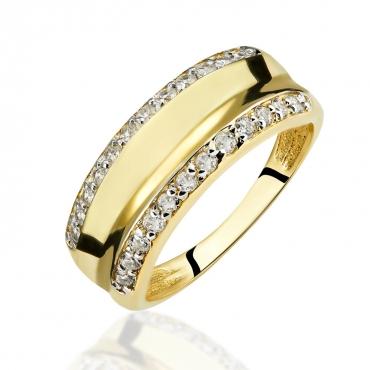 Złoty Pierścionek z kamieniami OBRĄCZKA
