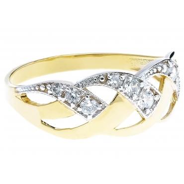 Złoty przeplatany pierścionek Cyrkonie warkocz