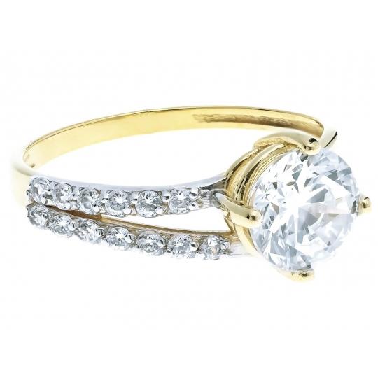 Złoty pierścionek Cyrkonie DUŻY KAMIEŃ zaręczynowy