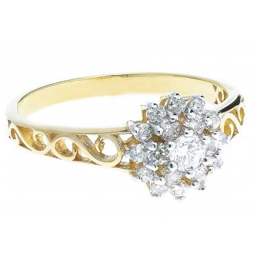 Złoty pierścionek wzór AŻUROWY KWIATEK