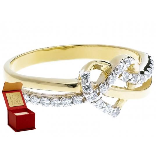Złoty pierścionek Przeplatany duże SERCE