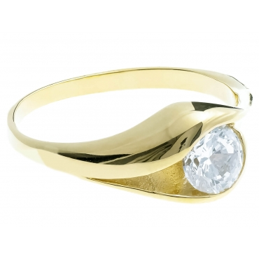 Złoty pierścionek DUŻY KAMIEŃ CYRKONIA