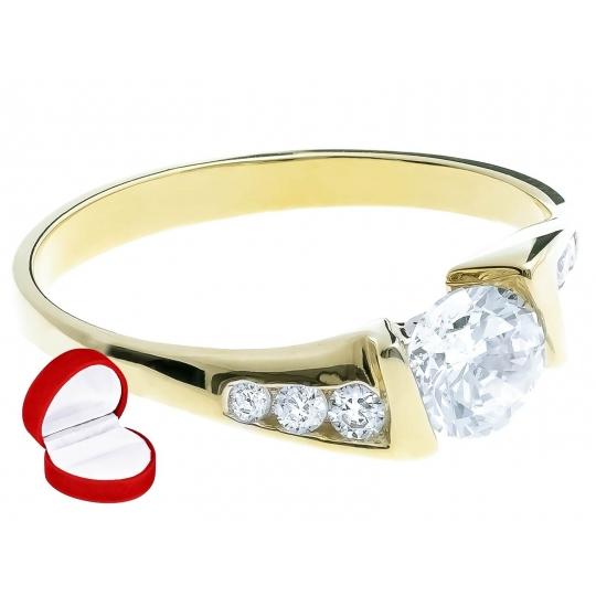 Piękny Złoty pierścionek Cyrkonie