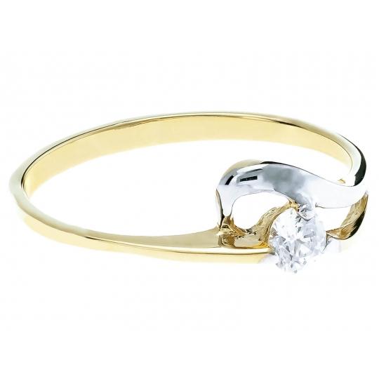 Złoty pierścionek Cyrkonia Oczko Fala