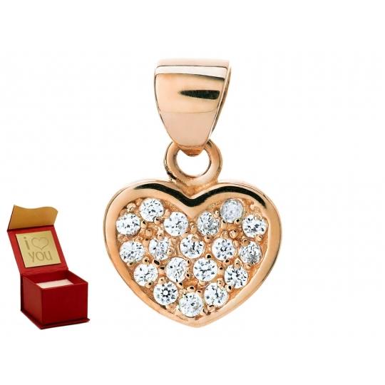 Złota zawieszka z Cyrkoniami Wisiorek SERCE różowe złoto próba 585