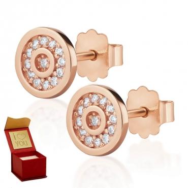 Złote kolczyki Madame Sparkle różowe złoto próba 585