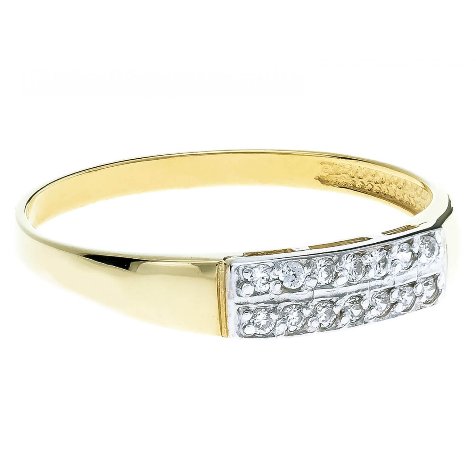 Złoty pierścionek z cyrkoniami Obrączka duo