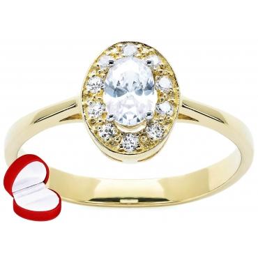 Złoty pierścionek Markiza DUŻY KAMIEŃ