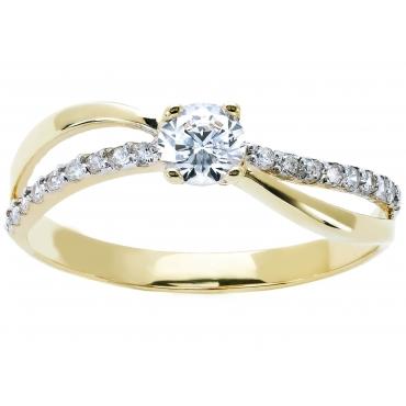 Złoty pierścionek PRZEPLATANY piękna cyrkonia