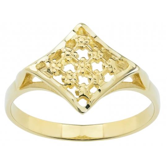 Złoty pierścionek ażurowy - nacinany wzór