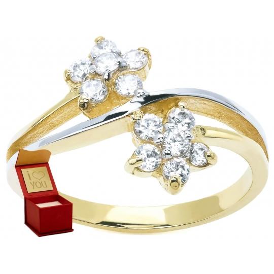 Złoty pierścionek Dwa kwiaty