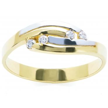 Złoty pierścionek z czterema Cyrkoniami