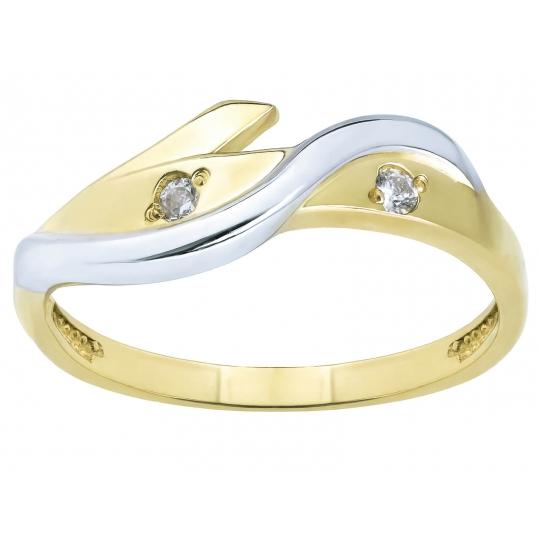 Złoty pierścionek Przeplatany wzór Fala