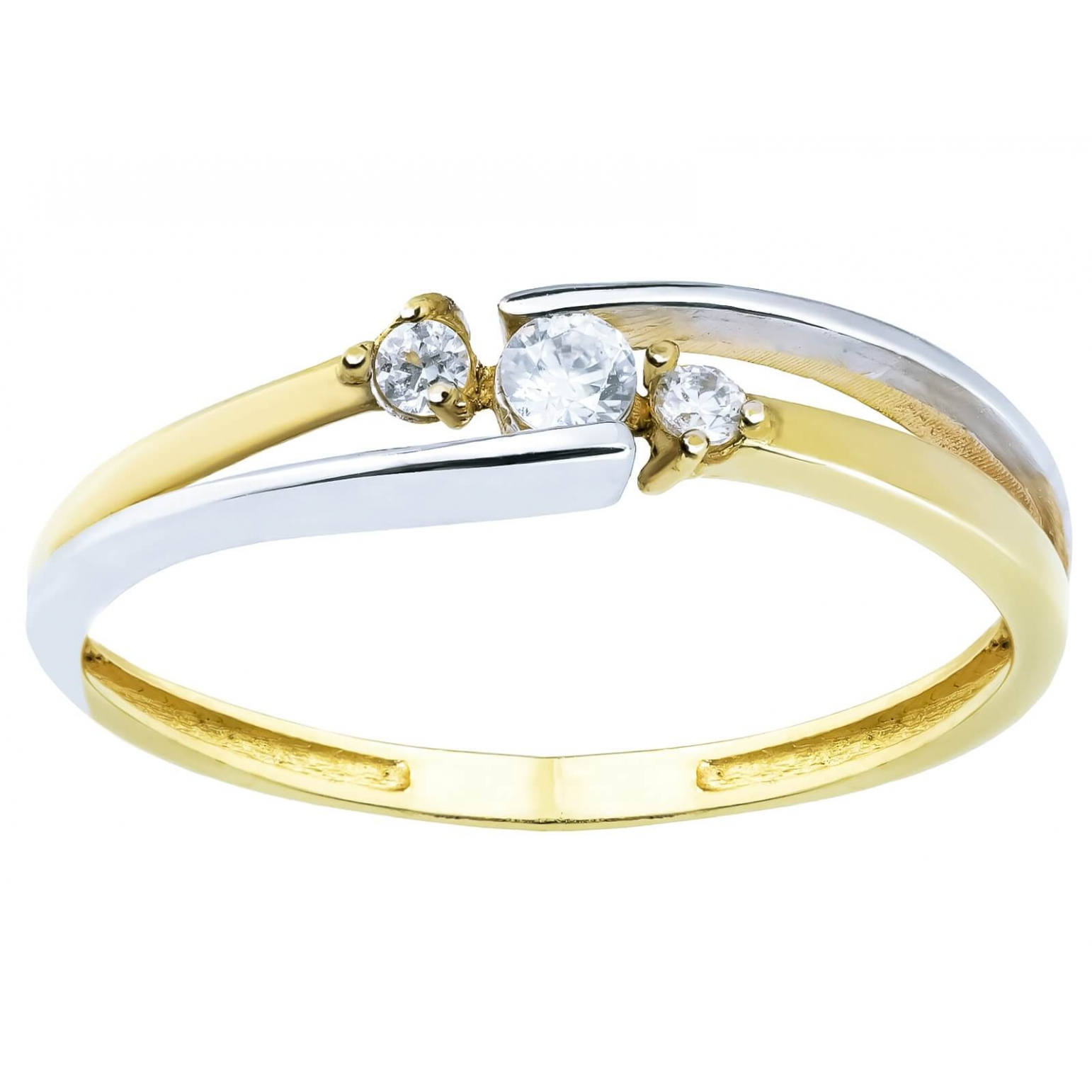 Delikatny złoty pierścionek Cyrkonie