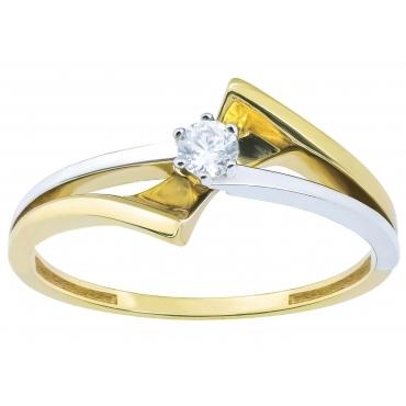 Nowoczesny wzór złoty pierścionek Cyrkonia