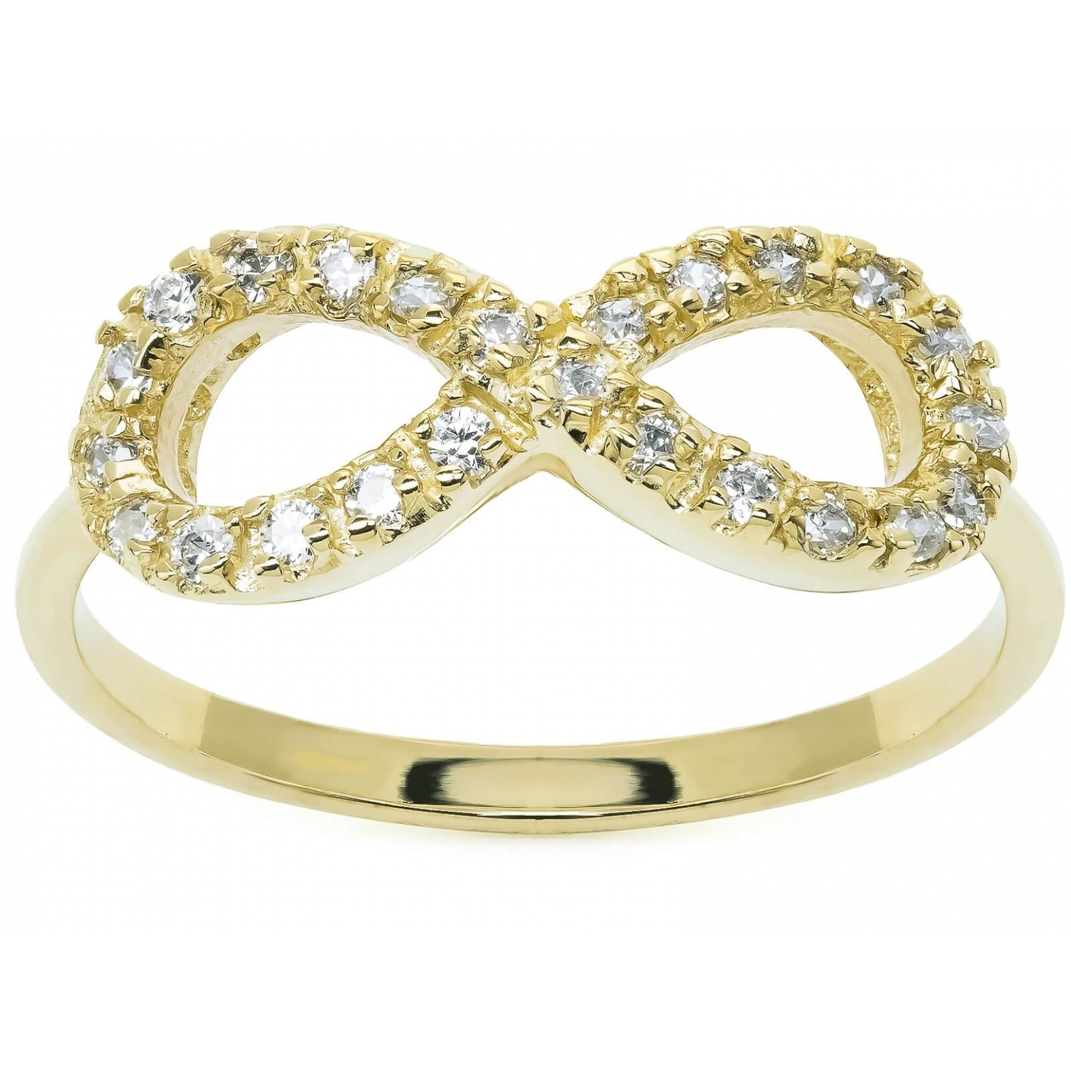 Złoty pierścionek nieskończoność infinity