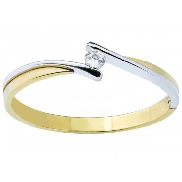 Elegancki złoty pierścionek Cyrkonia łączone złota