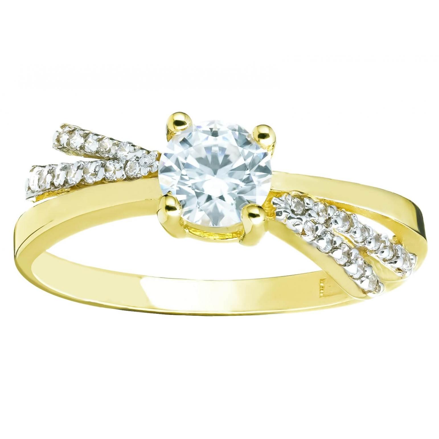 Złoty pierścionek Cyrkonie Przeplatany wzór