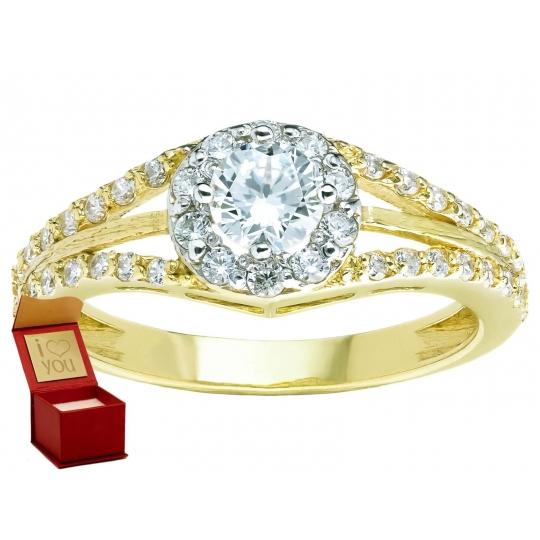 Złoty pierścionek zaręczynowy elegancki