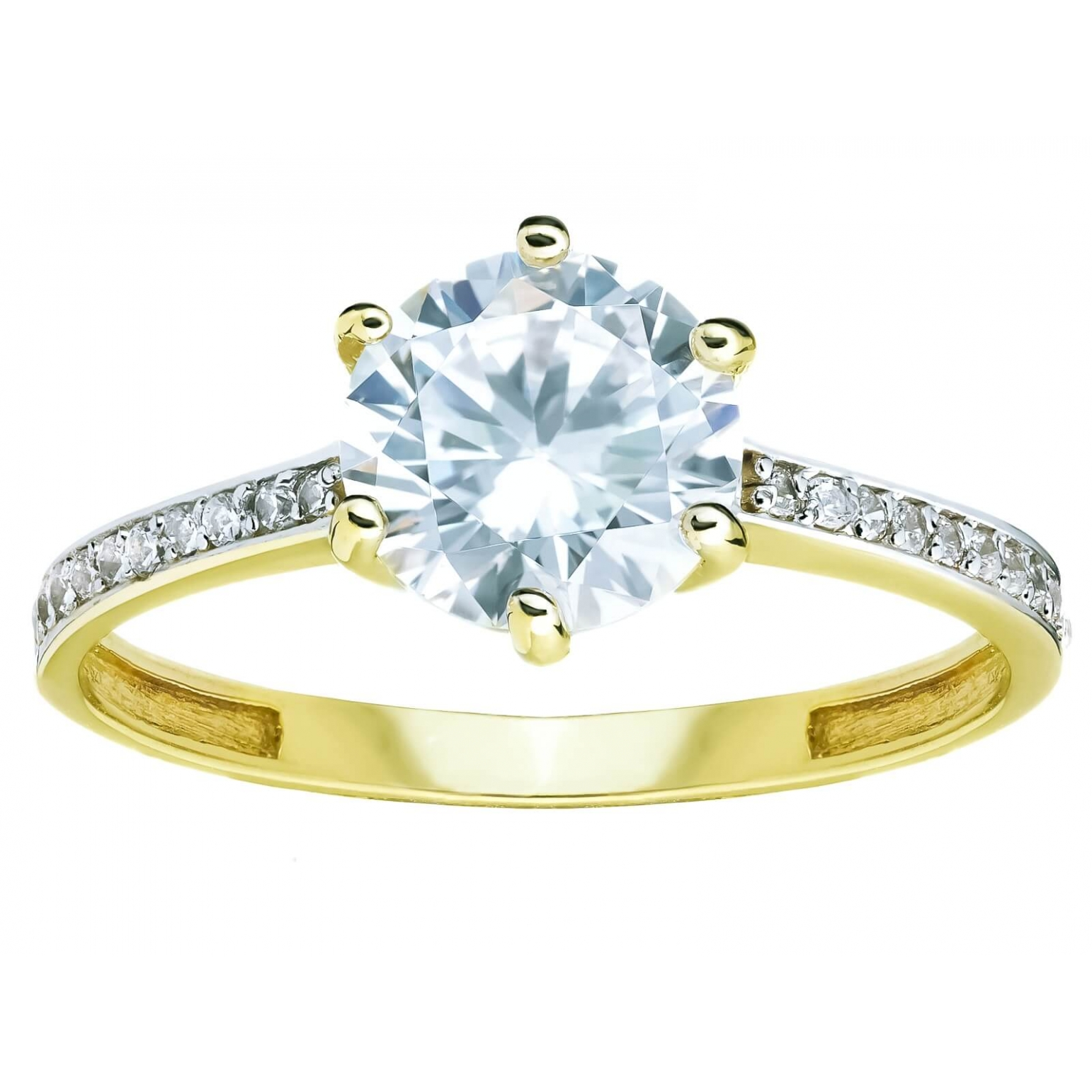 Złoty pierścionek zaręczynowy Cyrkonie