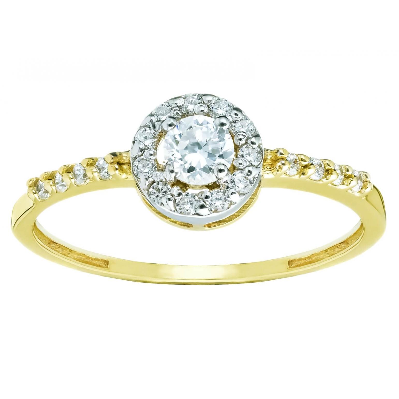 Złoty pierścionek zdobiony Cyrkoniami
