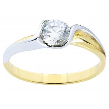 Piękny Złoty pierścionek z dużą Cyrkonią