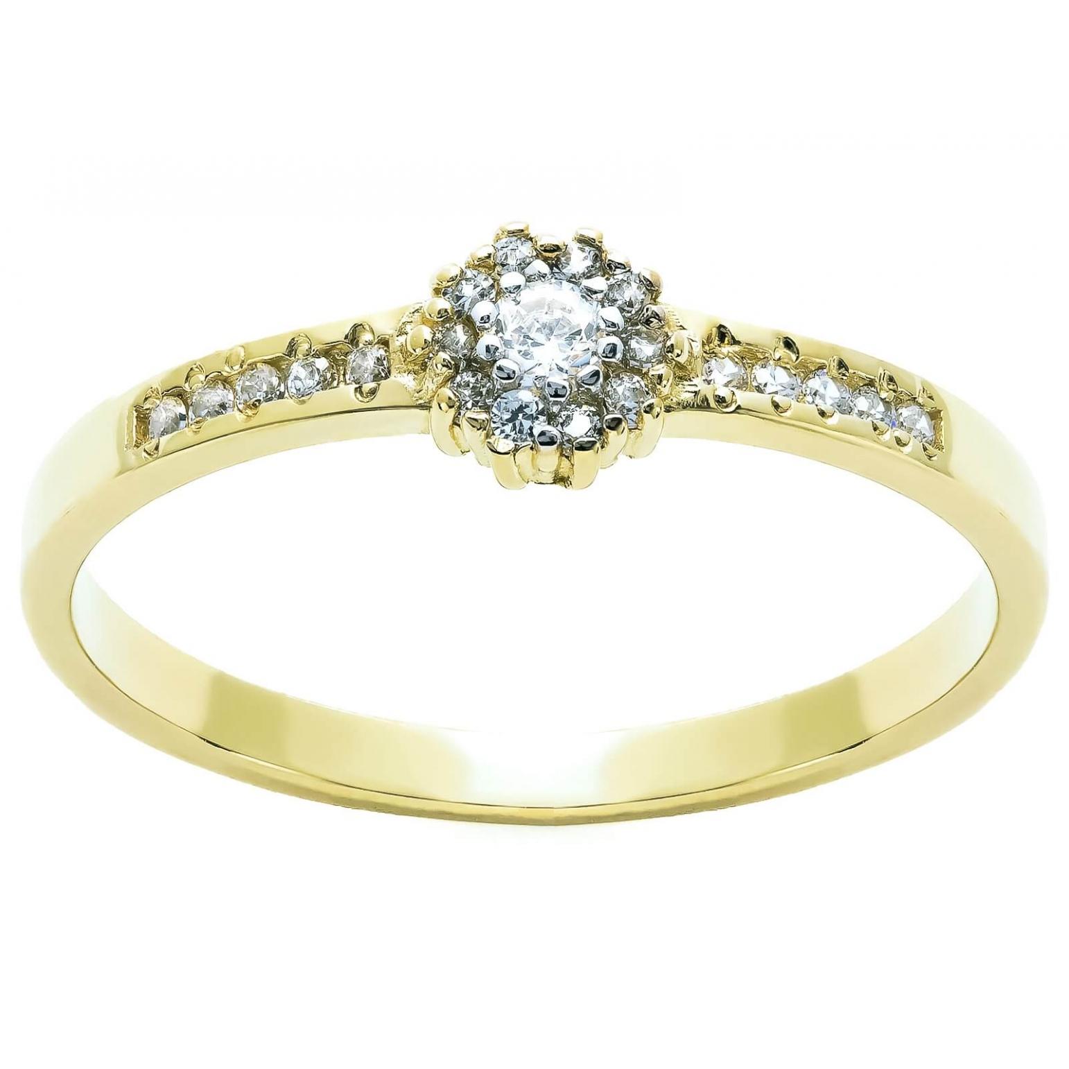 Złoty pierścionek KAMIENIE KWIAT