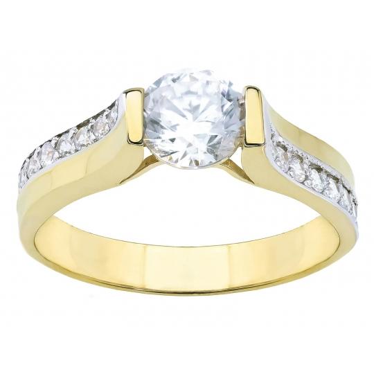 Złoty pierścionek Cyrkonie DUŻY KAMIEŃ