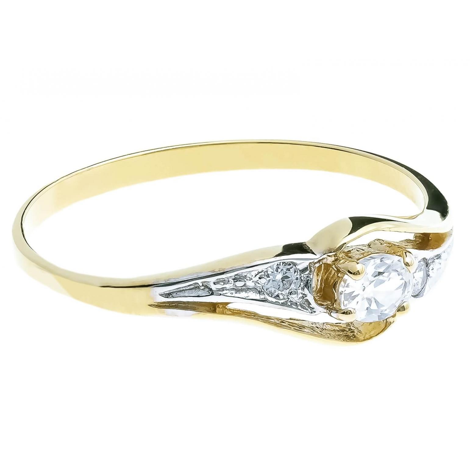 Złoty pierścionek z cyrkoniami Kamienie
