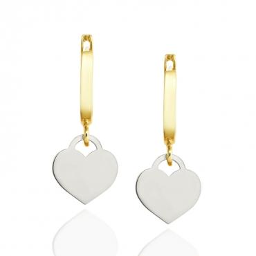 Złote kolczyki wiszące białe Serce próba 585