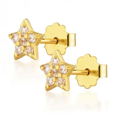 Złote kolczyki gwiazdka Sparkle próba 585