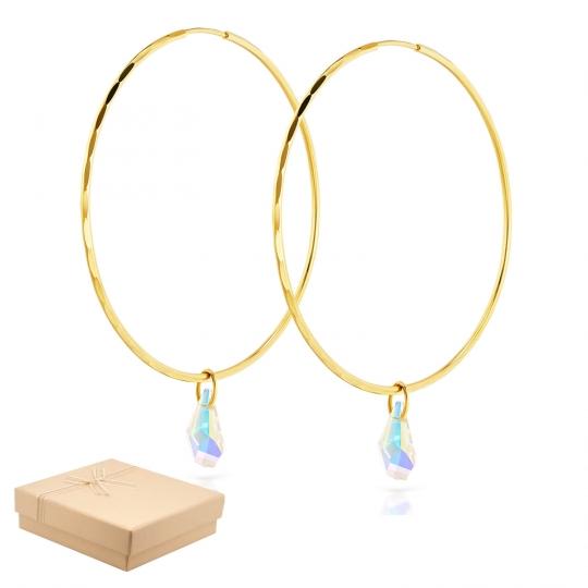 Złote Kolczyki koła z kryształami Eclat średnica 6,5 cm
