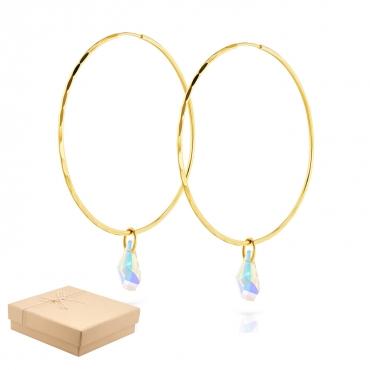 Złote Kolczyki koła z kryształami Eclat średnica 5 cm