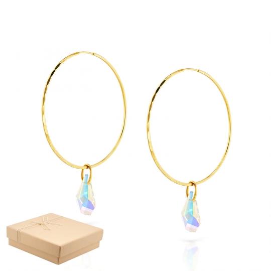 Złote Kolczyki koła z kryształami Eclat średnica 3,5 cm
